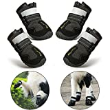 RoyalCare Dog Boots Paw Protector, Set of 4 Waterproof Anti-Slip Soft Dog Shoes with Reflective Velcro for Medium and Large Dog - Black (6#)