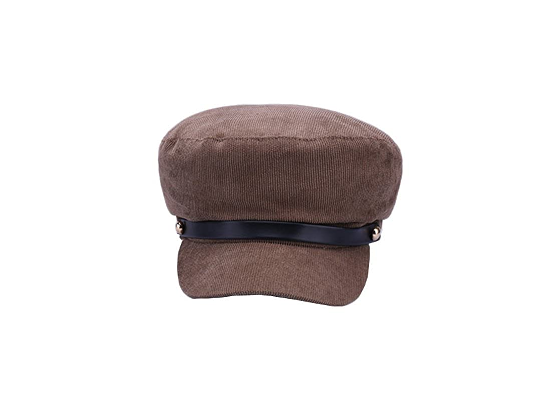 ACVIP Women's Plain Color Corduroy Newsboy Flat Cap