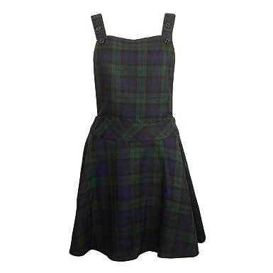 ae5bb6429c Ladies Womens Tartan Pinafore Dungarees Mini Backless Buttoned Skater Dress  8-14 (UK Size