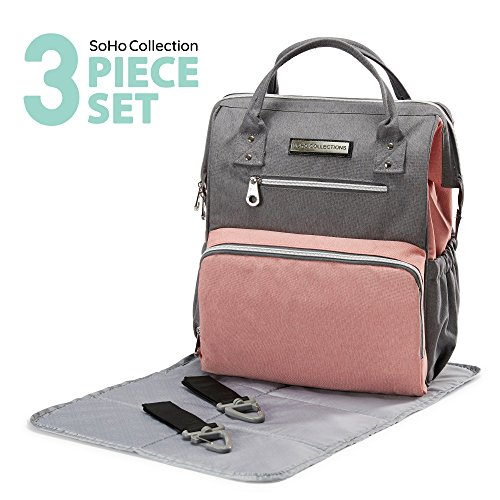 SoHo diaper bag backpack Wide Opening 3 pcs nappy tote bag for baby mom dad stylish insulated unisex multifuncation large capacity waterproof durable includes changing pad stroller straps Pink Gray