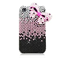 For Apple Iphone 3g/3gs 3d Full Diamond Bling Black Silver Hot Pink Gradient Bow Tie