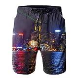 Mens City Silhouette Light Hawaiian Shorts Drawstring Quick Dry Board Shorts