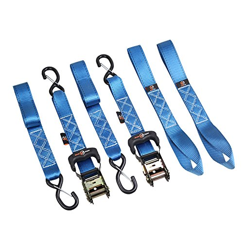 Murpow Loop Straps Ratchet tie Down Straps 2 PK, Including 2 pc Heavy Duty 5,000 lbs BS 1.6