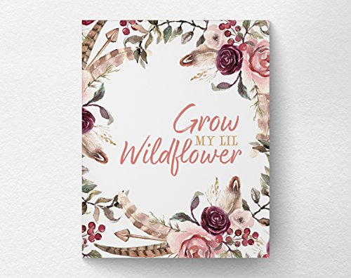 Boho Floral Feather Nursery Decor, Girls Baby Shower Gift, Grow My Lil Wildflower Nursery Wall Art Print Poster, 8x10 Print ()