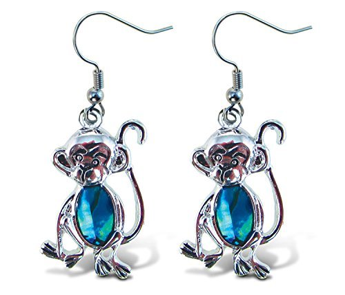 Puzzled Blue & Silver Monkey Dangle Post Fish Hook Drop Earrings, 1.35 Inch Fashionable Sparkling Elegant Jewelry with Genuine New Zealand Paua Shell Wild Animals Themed Fashion Ear Accessory (2 Pcs)