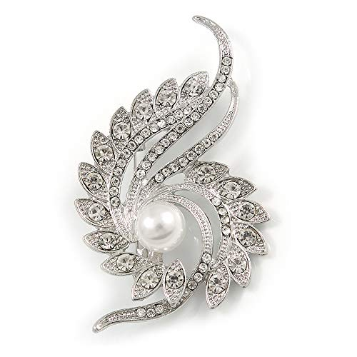 - Avalaya Clear Crystal Faux White Pearl Fancy Floral Brooch in Silver Tone - 67mm Tall