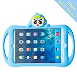 iPad Air2 Pro9.7 2017/2018 Case, Bole Cat Case for Kids Handle Silicone Cute Cartoon Rabbit Design Shockproof Waterproof with Holder for Children