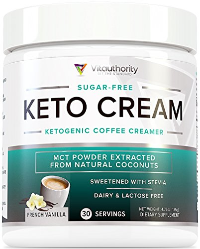 Keto Cream: Sugar Free Perfect Keto Coffee Creamer Powder with Vegan MCT Oil Powder, Stevia Sweetened Keto Creamer for Coffee | Low Calorie, Non Dairy Ketogenic Coffee Booster, French Vanilla, 30 SRV