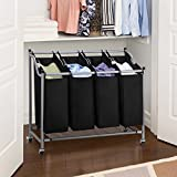 Ollieroo Classics Rolling Laundry Sorter Cart, 4-Bag Heavy Duty Laundry Hamper Sorter, Sturdy Frame with 60KG Weight Capacity, Size: 37.6