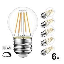 LVWIT G45 LED Filament Bulb 4W Dimmable LED Vintage Edison Bulb E26 Base 2700K Warm White LED Light Bulbs 40 Watt Incandescent Bulbs Equivalent 6 Pack