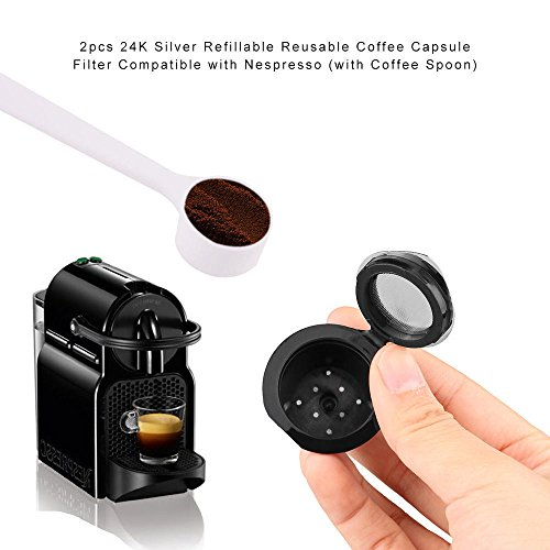 EE Refillable Reusable Coffee Capsule Stainless Steel Filter For Nespresso+spoon