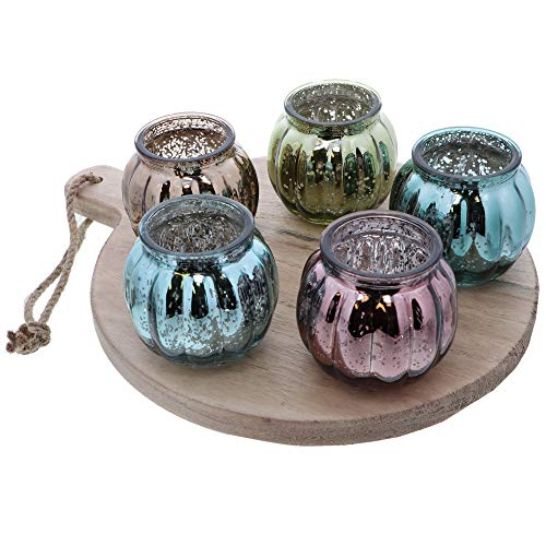 Li'Shay Set of 6 Mercury Glass Candle Holders Multi Colored Votive Holder on Round Tray (Mercury Glass Tray)