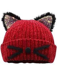 Bellady Kid Girl Hat Cute Cat Ear Beanie Cap Warm for Fall Winter,Child_Red