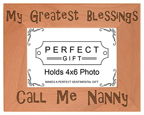ThisWear Gift Grandma Blessings Call Me Nanny Natural Wood Engraved 4x6 Landscape Picture Frame Wood