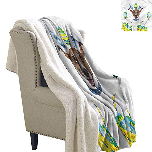 Beihai1Sun Easter Lightweight Fluffy Flannel and Sherpa Blanket Funny Jack Russell Baskets Warm Blanket 60x47 Inch ()