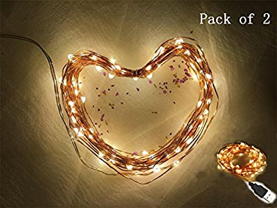 33Ft 100leds / 66Ft 200leds Waterproof Copper Wire Starry String Fairy Lights USB Powered Hanging for Bedroom Indoor Outdoor Warm White Ambiance Lighting for Patio Wedding Decor