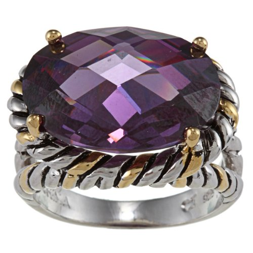 David Amethyst Yurman (Sterling Silver Two-Tone Amethyst Oval CZ Ring - Size 7 (Available in sizes 6 through 9))