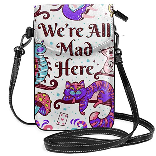 Lbbb Print with Characters from Alice in Wonderland PU Leather Small Cross Body Bag-Cell Phone Purse Smartphone Wallet with Shoulder Strap Handbag for Women