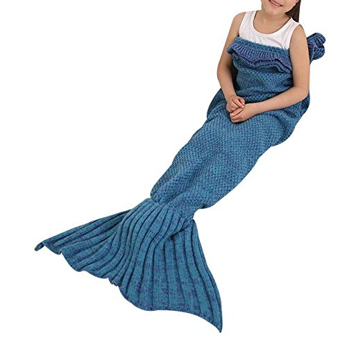 HiddenValor Kids Mermaid Tail Blanket Mermaid Crochet Blanket Seasons Sleeping Blankets (Blue) (Mermaid For Kids)