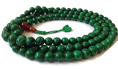 Malachite Japa Mala 108 Beads Full Mala Necklace for Meditation and Yoga