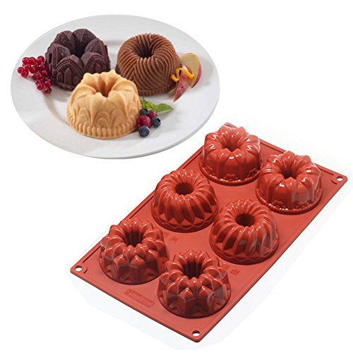 Kitchen, Dining & Bar 6-Cavity Mini Bundt Savarin Cake Silicone Mold Chocolate Dount Cookie Baking Pan (Flexible Silicone Fluted Tube Pan)