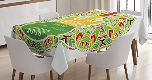 ecloth, Reggae Music Makes Me Feel Good Quote Jamaican Island Culture Iconic Guitar, Dining Room Kitchen Rectangular Table Cover, 52 W X 70 L Inches, Green Yellow and Red ()