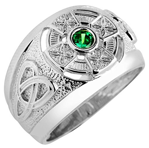 925 Sterling Silver Trinity Knot Green CZ Men's Celtic Ring (Size 12.25)