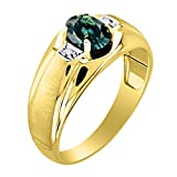 Green Sapphire & Diamond Ring Set in Yellow Gold Plated Silver With Satin Finish