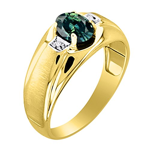 Green Sapphire & Diamond Ring Set in Yellow Gold Plated Silver With Satin Finish by Rylos