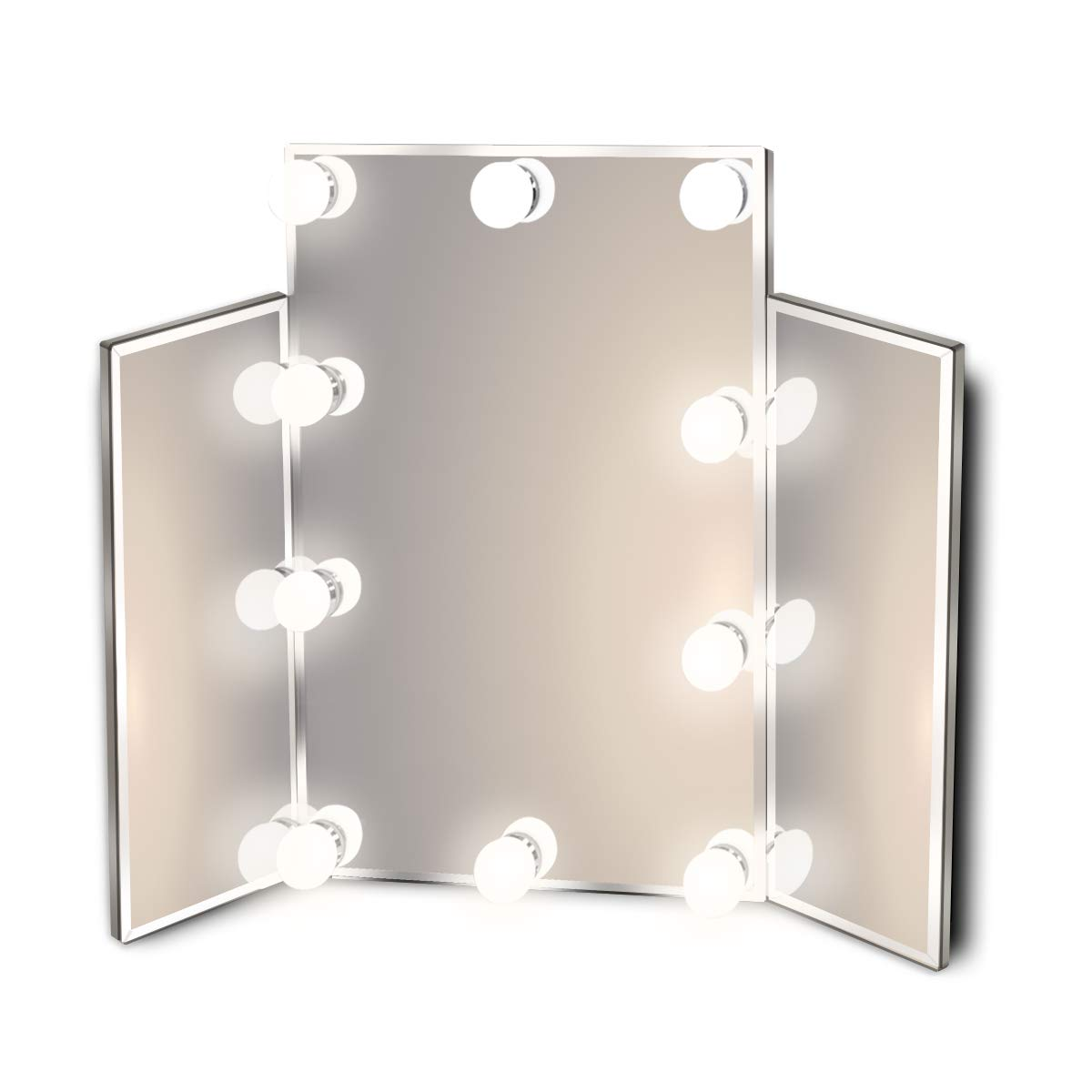 Hollywood Lighted Vanity Makeup Mirror with Bright LED Lights, Light-up Frameless Dressing Table 3-Way Cosmetic Mirror with 10 Dimmable Bulbs, Multiple Color Modes, Table-Top or Wall Mount, Tri-Fold by Waneway