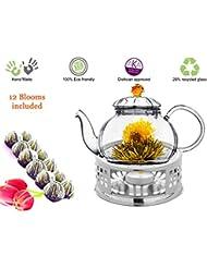 Glass Teapot with Tea Warmer Lead Free Special Glass No Drip by Tea Beyond (Amber+Metal+Tea, 20 oz)