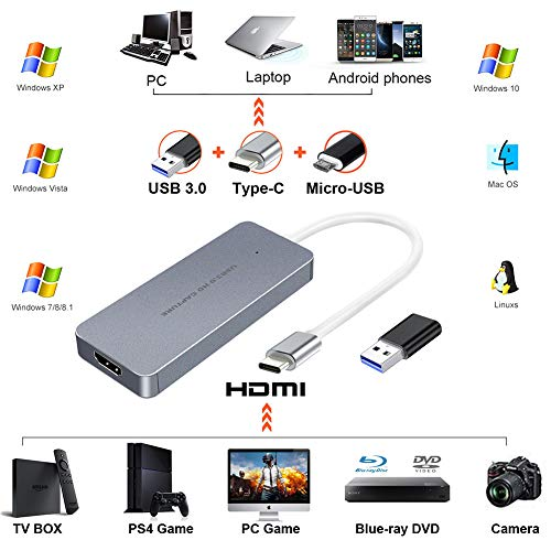 HDMI Video Game Capture Card USB 3 0 Type C Recorder Device