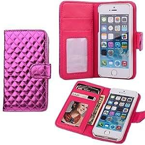 HJZ Lozenge PU Leather Purse Case for iPhone 5/5S , Silver