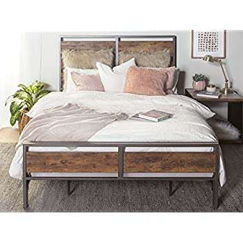 Amazon Com New Rustic Queen Size Metal And Wood Plank Bed