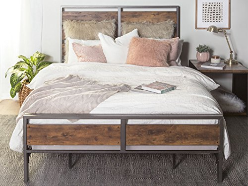 New Rustic Queen Size Metal and Wood Plank