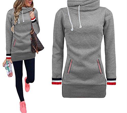 (Xuan2Xuan3 Womens Long Sleeve Collar Fleece Casual Pullover Hoodies Sweatshirts Sweater Outerwear Coat Jacket Dress)