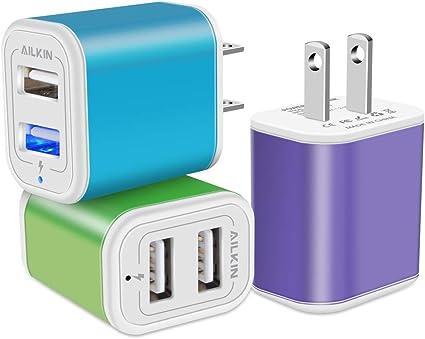 Amazon.com: Ailkin - Cargador de pared USB (3 unidades, 2,1 ...