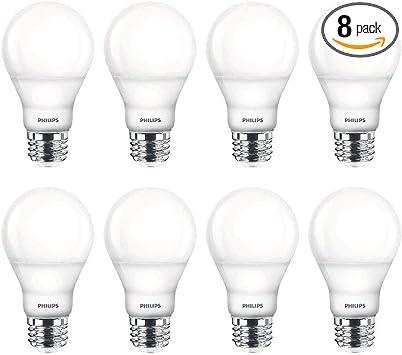 2200-2700-Kelvin Soft White 8-Pack 40-Watt Equivalent Philips LED Dimmable A19 Light Bulb with Warm Glow Effect 450-Lumen E26 Base 6-Watt Clear