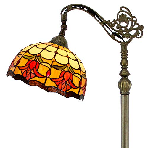 Tiffany Floor Lamp Arched Style Stained Glass Reading Standing Light Cream Red Tulip Flower Lampshade 64 Inch Tall for Bedroom Living Room Dresser Coffee Table S030 WERFACTORY (Lamp Standing Floor Tiffany)
