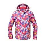 Reopen Girl's Outdoor 3 in 1 Sports Jacket Mountain Waterproof Ski Jacket with Inner Detachable Fleece Coat (160/76A, Pink with Purple)