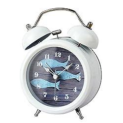 3-Inch Non-ticking Quartz Retro Twin Bell Alarm Clock with Loud Alarm and Nightlight,Fish Classic White