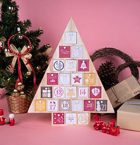 LA CHANSON Countdown to Christmas Advent Calendar with 24 Drawers Handcrafted Countdown Treasure Box Calendar (Christmas Tree)