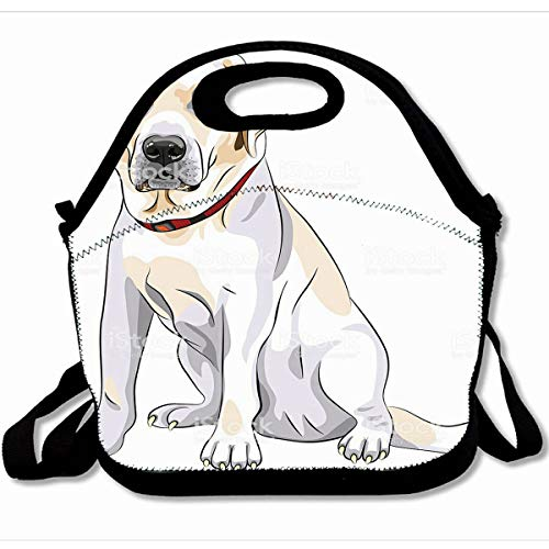 (Ahawoso Reusable Insulated Lunch Tote Bag Black Lab Portrait Close Up Serious Yellow Dog Breed Labrador Retriever Sits White Sketch 10X11 Zippered Neoprene School Picnic Gourmet)