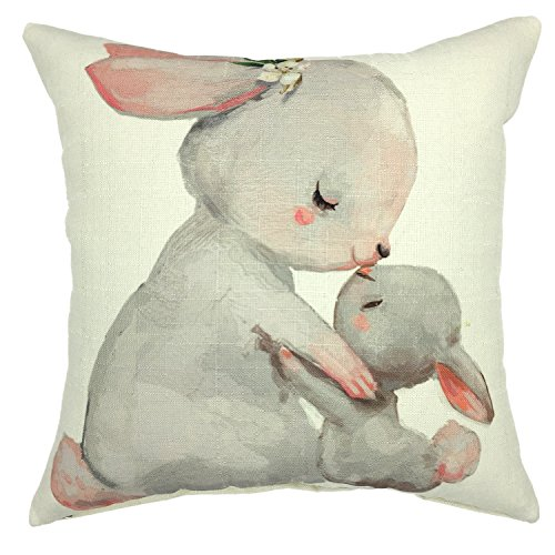 (YOUR SMILE Rabbit Mom & Baby Cotton Linen Square Cushion Covers Throw Pillow Covers Decorative 18 x 18 (C02))