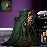 smallbeefly Mythological Digital Printing Blanket Spiritual Woman with Snakes on Her Head Sacred Occult Style Zen Meditation Summer Quilt Comforter Green Tan