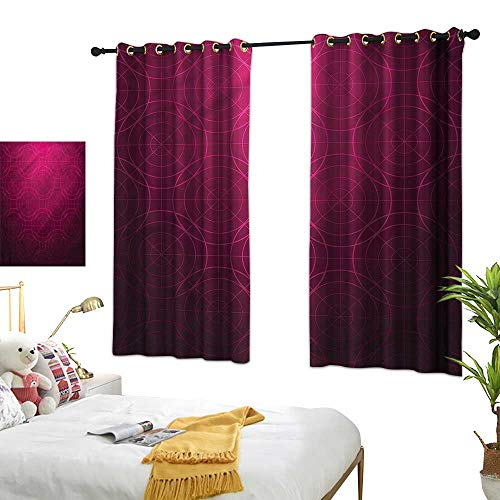 """G Idle Sky Printed Curtain Magenta Environmental Protection Disc Shaped Lines Pattern 55"""" xL39"""