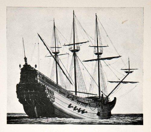 1930 Print Genoese Carrack Sailing Ship Atlantic Ocean Historic Exploration Mast   Original Halftone Print