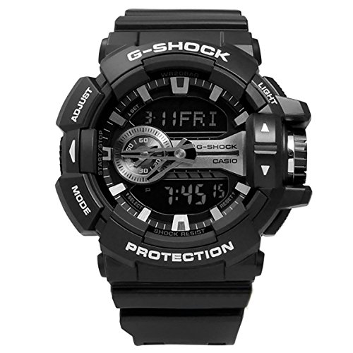 Casio G-Shock Black and Silver-Tone Dial Resin Quartz Men's Watch GA400GB-1A