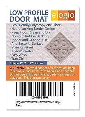 Beige 17.5/Ã/'/¬/Ã/'/¬x 27/Ã/'/¬ Elogio Door Mat Indoor Outdoor Doormats Outside Effective Scraping of Dirt Patio Grass Snow Dust Grit Removal Ideal Low Profile Doormat Front Door Entrance Mat Rug Non Slip Rubber