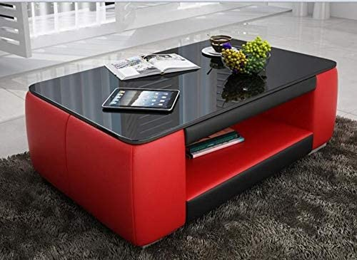 Cheap ContemporaryRed and Black Leather Coffee Table w/Black Glass living room table for sale